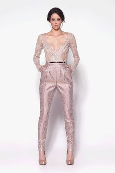 Silver and rose gold brocade pleated cigarette pants with French chantilly lace wrap top.