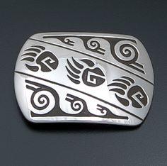Rosco Scott (Navajo) - Triple Bear Track Rectangular Sterling Silver Belt Buckle #41451 $225.00