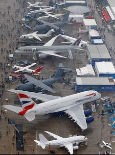 An aerial view of the Paris Air Show at Le Bourget Airport on June 19, 2013.
