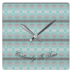 Square Clock With Teal And Grey - home gifts ideas decor special unique custom individual customized individualized