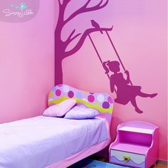 The Half Tree is a great decal for sprucing up corners or those tricky places that just need an extra touch. This design features a young girl on a swing and is perfect for girl's bedrooms, playrooms, or nurseries.