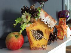 Autumn bird house decoration. scrapbooking, mixmedia, domek dla prtaszków z tektury, jesienna dekoracja