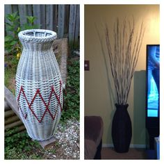 Wicker tall basket redo. My mom was getting rid of it and I saw some potential! Just 2 coats of spray paint (indoor) and a few branches!