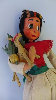 "Vintage Mexico Mexican Early California doll w/straw folk art donkey 10 1/4"""