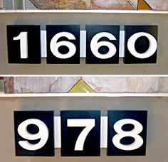 Eichler house numbers, available from EichlerNumbers.com via Design Milk (other options shown too) $90