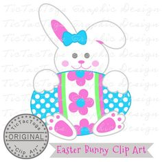 Easter Clip Art, Bunn Digital Clipart, Egg Bow Girl Personal and Commercial Use