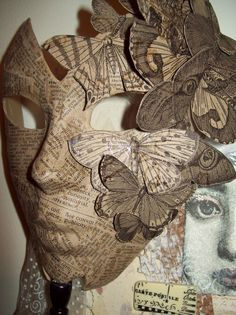 Mask with newspaper decoration from My Artful Nest blog