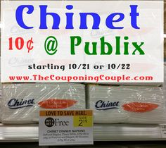 Hot Deal on Chinet Napkins $0.10 each  at Publix starting 10/22 (10/21). Print Now to be ready for this sale just in time for the holidays.*  Click the link below to get all of the details ► http://www.thecouponingcouple.com/hot-deal-on-chinet-napkins-at-publix-starting-1022/ #Coupons #Couponing #CouponCommunity  Visit us at http://www.thecouponingcouple.com for more great posts!