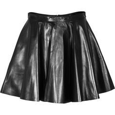 SLY 010 Short Luxe Ease Black Pleated nappa leather skirt ($400) ❤ liked on Polyvore featuring skirts, mini skirts, bottoms, saias, mini skirt, sexy pleated mini skirt, flare skirt, short miniskirt and short skirts