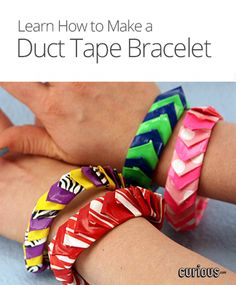Looking for arts and crafts ideas? This lesson from Sophie's World demonstrates how to make a bangle bracelet. All you need is duct tape and scissors!