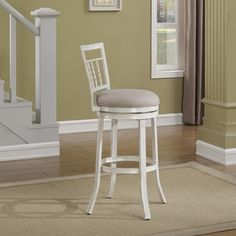 The American Woodcrafters Palazzo Bar Stool gives us a little bit of farmhouse charm that is right at home in your cozy space. This appealing stool. White Bar Stools, Bar Stools With Backs, 26 Bar Stools, Metal Bar Stools, Kitchen Stools, Swivel Counter Stools, Counter Height Stools, White Counters, Metal Stool