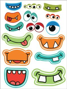 Halloween Printables Frebies pour Photo Booths - Welcome OyunRet Little Monster Party, Monster Birthday Parties, Cute Monsters, Little Monsters, Vinyl Sticker Sheets, Art For Kids, Crafts For Kids, Monster Crafts, Monster Face
