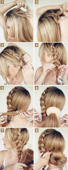 "Braided Bun hair tutorial on Latest Hairstyles big-braided-bun"" data-componentType=""MODAL_PINbig-braided-bun"" data-componentType=""MODAL_PIN Braided Hairstyles Tutorials, Up Hairstyles, Pretty Hairstyles, Braid Tutorials, Hairstyle Ideas, Wedding Hairstyles, Beauty Tutorials, Summer Hairstyles, Bob Hairstyle"