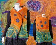 Fairytale fiber art to wear garment reversible modular vest shrug frog bee orange purple multcolor whimsy ooak Size s to L.