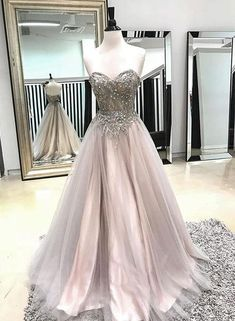 Champagne sweetheart neck tulle long prom dress, evening dress, Customized service and Rush order are available