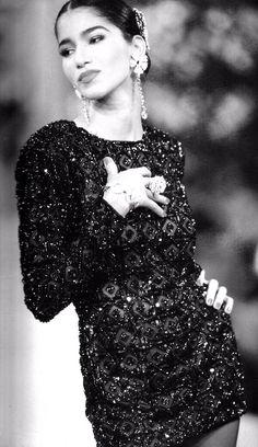 1990 - Yves Saint Laurent Couture show - Gurmit in a Zizi Jeanmaire tribute dress