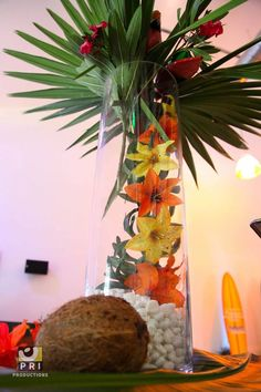pinterest tropical centerpiece | Tropical Centerpiece created for a buffet ... | Floral Design - Cen...