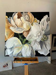 Flower Painting Canvas, Turtle Painting, Canvas Art, Mural Wall Art, Diy Wall Art, Resin Wall Art, Rose Art, Artist Painting, Flower Art