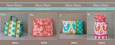 fiches patron Frou-Frou | Mercerie Créative - Couture Facile. pochon, trousse, cabas, coussin.  marque Frou-Frou