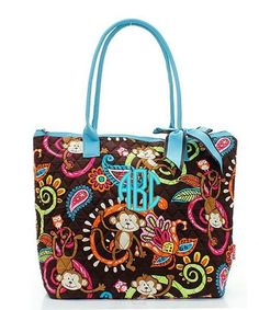 "Personalized Monkey Turquoise Blue 16"" Quilted Tote Bag - Gifts Happen Here - 1"