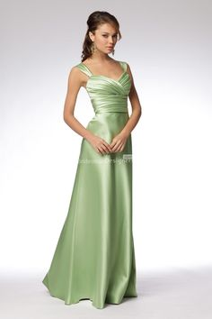 Stylish Lime Sleeveless Empire Floor Length A Line Pleated Satin Bridesmaid Dress