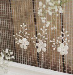 Horquillas de novia, conjunto de 3 horquillas de novia, alfileres de Dama de honor, novia flor perla, accesorios de la boda, Novia de accesorios, vid floral de boho