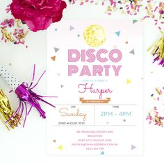 Personalised disco party invites with confetti by Love JK.