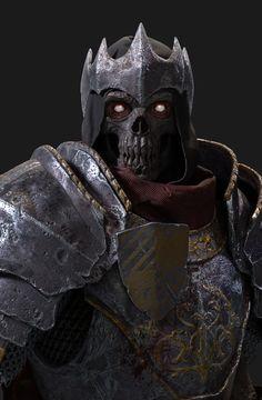 Armata Străbunilor întunericului și al lui Darth Shadow High Fantasy, Dark Fantasy Art, Dark Art, Undead Knight, Death Knight, Fantasy Armor, Medieval Fantasy, Skeleton Warrior, Walking Dead