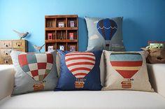 "18"" Decorative pillow cases, hot air balloon design pillow covers, sofa decor, kids room decoration"