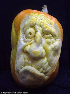 Frightfully good carving: Pumpkins are transformed into glowing masterpieces by professional sculptors in time for Halloween Ray Villafane and his team Awesome Pumpkin Carvings, Creepy Pumpkin, Pumpkin Art, Pumpkin Faces, Pumpkin Ideas, Halloween Cans, Halloween Pumpkins, Halloween Ideas, Halloween Quotes