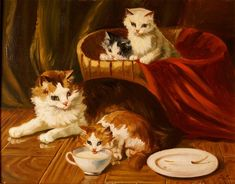 "19th century painting French Master Jules Gustave Leroy ( 1856-1921)). "" cat and her kittens"" Oil on mahogany panel,"