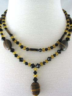 Tiger's Eye and Black Glass Necklace and by JazzitUpwithDesigns