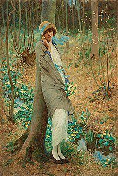 """William Henry Margetson (1861-1940) """"Kvinna i vårlandskap"""" 1924"""