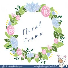 Floral Frame- Photoshop Brush - Hand Drawn Clip Art - Photography Elements - Digital Clip Art - No. 0402. $4.50, via Etsy.