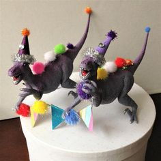Two Fun Dinosaurs Ready to Have a Party Cake Topper Banner