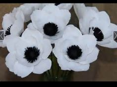Crepe Paper Flowers Six White Anemone flowers