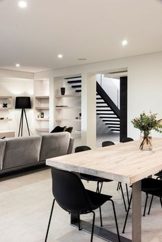 Today, we're showing you 20 modern dining room design ideas that will be a sur. Today, we're showing you 20 modern dining room design ideas that will be a sure inspiration to ge Chill Room, Modern Basement, Basement Ideas, Basement Family Rooms, Dining Room Design, Kitchen Design, Design Room, Home Fashion, Style Fashion