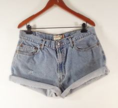 PLUS SIZE High Waisted Denim Shorts  LEVI'S by TomieHarleneVintage, $21.99  #highwaisted #highwaist #highwaisteddenimshorts #highrise #denimshorts #distressedshorts #boyfriendjeans #boyfriendshorts #vintagedenim #plussize #plussizeshorts #plussizejeans #levis #levi505s