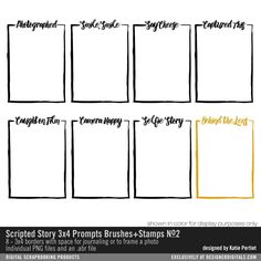 Scripted Story 3x4 Prompts Brushes and Stamps No. 02- Katie Pertiet Brushes- DS911013- DesignerDigitals