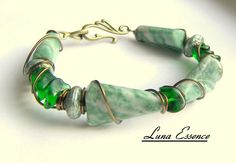 Wavy Emerald Green Tree Agate Wire Wrapped Bracelet by LunaEssence, $42.00