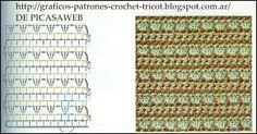 Puntos tejidos a ganchillo con sus graficos Crochet Stitches, Crochet Patterns, Textile Art, Charts, Textiles, Knitting Ideas, Html, Skirt, Dresses