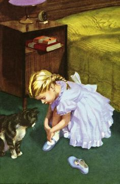 She puts on her blue shoes -The Party - LadyBird Books 1960 ilustrator Harry Wingfield