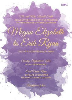 Water Color wedding invitation save the date invite etsy custom graphic design
