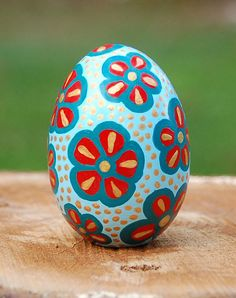 Ceramic Egg with Flowers - Hand-painted in Light Blue, Teal, Red, and Gold - Decorative - Christmas - Easter - Home - Gift