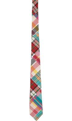 Thom Grey Madras Patchwork Tie