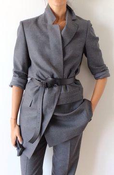 veste ceinture gris chic androgyne