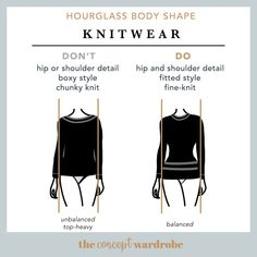 Hourglass Body Shape Knitwear Do's and Don'ts - the concept wardrobe Hourglass Figure Outfits, Hourglass Dress, Hourglass Fashion, Look Body, Body Love, Hourglass Body Shape, Shape Fitness, Love Handle Workout, Build A Wardrobe
