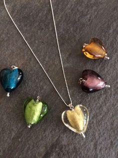 Glass Heart Necklace Sterling Silver glass by SheRocksGemjewellery
