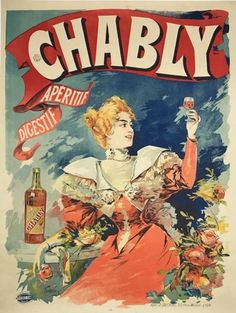 Original French 1898 Stone Lithograph advertising Chably Aperitif Digestif by Tamagno Linen backed Poster