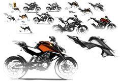 KTM 390 & 125 Duke Die ersten Entwürfe der KTM 390 Duke Ktm Duke, Bike Sketch, Car Sketch, Yamaha Cafe Racer, Photoshop Rendering, Custom Sport Bikes, Motorbike Design, Concept Motorcycles, Industrial Design Sketch